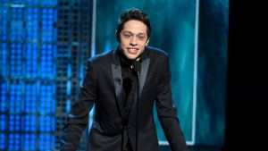 FILE - In this March 14, 2015, file photo, Pete Davidson speaks at a Comedy Central Roast at Sony Pictures Studios in Culver City, Calif. (Photo by Chris Pizzello/Invision/AP, File)