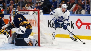 Toronto Maple Leafs forward Auston Matthews (34) carries the puck during the second period of an NHL hockey game against the Buffalo Sabres, Tuesday, Dec. 4, 2018, in Buffalo, N.Y. (AP Photo/Jeffrey T. Barnes)