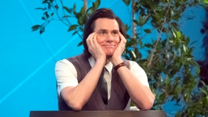 """This image released by Showtime shows Jim Carrey as Jeff Pickles in a scene from the series """"Kidding."""" On Thursday, Dec. 6, 2018, the program was nominated for a Golden Globe award for best comedy series. Carrey was also nominated for best actor in a comedy series. The 76th Golden Globe Awards will be held on Sunday, Jan. 6. (Erica Parise/Showtime via AP)"""