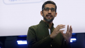 In this May 8, 2018, file photo, Google CEO Sundar Pichai speaks at the Google I/O conference in Mountain View, Calif. (AP Photo/Jeff Chiu, File)