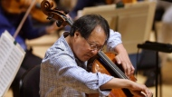 Cellist Yo-Yo Ma rehearses Prokofiev's Symphony Concerto for cello and orchestra at Symphony Hall, Thursday, Nov. 20, 2014, in Boston. World-renowned cellist Ma has announced he'll give a free concert in Montreal's subway today. THE CANADIAN PRESS/AP/Steven Senne