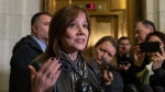 General Motors CEO Mary Barra speaks to reporters after a meeting with Sen. Sherrod Brown, D-Ohio, and Sen. (AP Photo/J. Scott Applewhite)