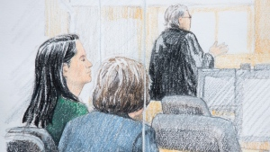 In this courtroom sketch, Meng Wanzhou, left, the chief financial officer of Huawei Technologies, sits beside a translator during a bail hearing at B.C. Supreme Court in Vancouver, on Friday December 7, 2018. THE CANADIAN PRESS/Jane Wolsak