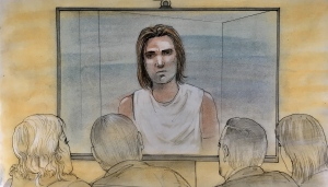 Dawson Farr is seen in this sketch from inside a Hamilton courtroom on Dec. 10, 2018. (John Mantha)