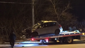 Police are searching for a suspect after a gunshot victim was found inside a vehicle after a crash in Scarborough. (Michael Nguyen/ CP24)