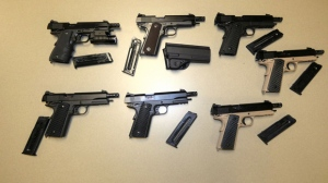 Untraceable handguns are shown in an OPP handout image.