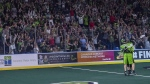 The home town cheers after the Saskatchewan Rush score a goal against the Rochester Knighthawks late in game three of the the National Lacrosse League finals in Saskatoon on June 9, 2018. THE CANADIAN PRESS/Liam Richards