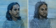 Mark Mahabir (right) and Nicholas Mahabir (left) are shown in sketches from their respective initial court appearances.