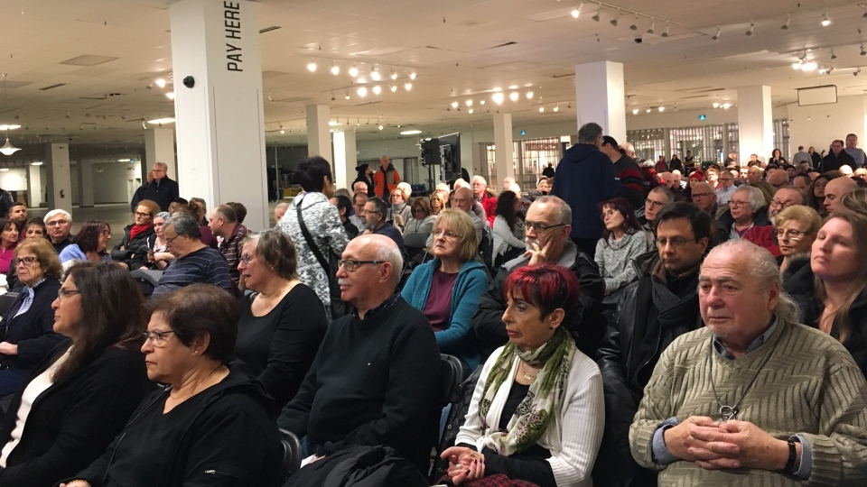 Thornhill residents attend a meeting about the redevelopment of the Promenade Shopping Centre in the space formerly occupied by Sears Canada at the mall Monday December 12, 2018.