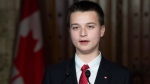 Make-A-Wish Prime Minister for a Day Aiden Anderson, from London, Ont. addresses the media in the foyer of the House of Commons Wednesday December 12, 2018 in Ottawa. THE CANADIAN PRESS/Adrian Wyld