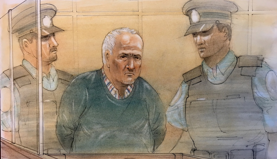 Alleged serial killer Bruce McArthur is seen appearing in a courtroom in this sketch on Dec. 13, 2018. (John Mantha)