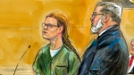 In this courtroom sketch, Maria Butina, left, is shown next to her attorney Robert Driscoll, before U.S. District Judge Tanya Chutkan, during a court hearing at the U.S. District Court in Washington, Thursday, Dec. 13, 2018. Maria Butina, a Russian accused of being a secret agent for the Russian government, has pleaded guilty to a conspiracy charge in federal court in Washington. (Dana Verkouteren via AP)