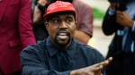 FILE - In this Oct. 11, 2018, file photo, Rapper Kanye West speaks during a meeting in the Oval Office of the White House with President Donald Trump, in Washington(AP Photo/Evan Vucci, File)