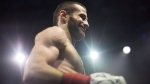 """Montreal's Arthur """"The Chechen Wolf"""" Biyarslanov reacts after his first round win over Mexico's Ernest Cardona Sanchez in Toronto on Saturday , December 15, 2018. THE CANADIAN PRESS/Chris Young"""
