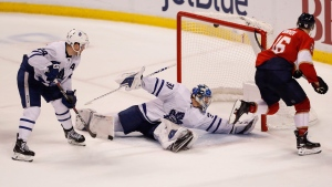 Florida Panthers center Aleksander Barkov scores a goal during overtime against Toronto Maple Leafs goaltender Frederik Andersen at an NHL hockey game, Saturday, Dec. 15, 2018, in Sunrise, Fla. (AP Photo/Brynn Anderson)