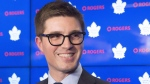 Kyle Dubas speaks at a press conference as he's introduced as the new general manager of the Toronto Maple Leafs in Toronto on May 11, 2018. THE CANADIAN PRESS/Chris Young