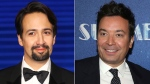 """This combination photo shows actor Lin-Manuel Miranda at the """"Mary Poppins Returns"""" premiere in London on Dec. 12, 2018, left, and TV late night host Jimmy Fallon at the opening night of """"Summer: The Donna Summer Musical"""" in New York on April 23, 2018. (AP Photo)"""