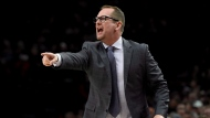 Toronto Raptors head coach Nick Nurse yells to his team during the first half of an NBA basketball game against the Portland Trail Blazers in Portland, Ore., Friday, Dec. 14, 2018. The Toronto Raptors coach was fined by the NBA on Tuesday, after comments he made to the media following the Raptors' 95-86 loss in Denver on Sunday. THE CANADIAN PRESS/AP-Steve Dykes