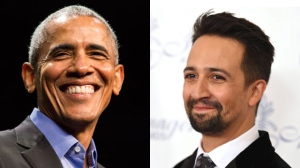 Barack Obama and Lin-Manuel Miranda (from left to right) are seen in this composite image. (The Associated Press)
