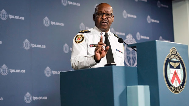 Toronto Police Chief Mark Saunders speaks to the media at a year-end news conference in Toronto on Thursday, December 27, 2018. (THE CANADIAN PRESS/Christopher Katsarov)