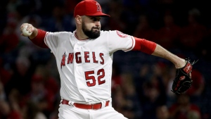 Los Angeles Angels starting pitcher Matt Shoemaker throws to a Texas Rangers batter during the first inning of a baseball game in Anaheim, Calif., Tuesday, Sept. 25, 2018. (AP Photo/Chris Carlson)