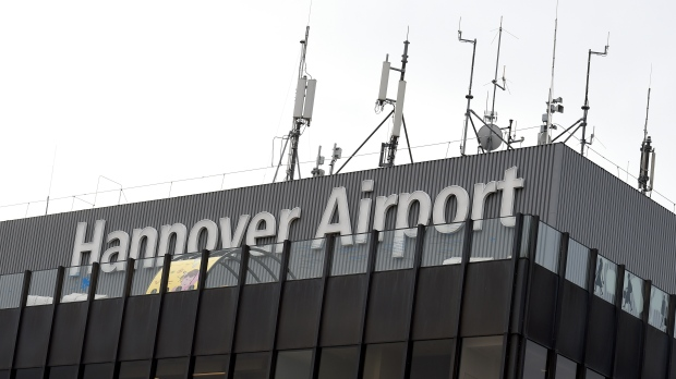 Police seen at Hannover Airport after vehicle  drives through gate