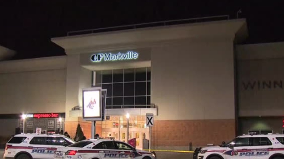 Police respond to an armed robbery at CF Markville Mall in Markham Sunday December 30, 2018.