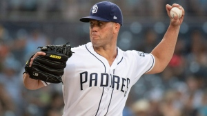 San Diego Padres starting pitcher Clayton Richard delivers a pitch during the third inning of a baseball game against the Arizona Diamondbacks in San Diego, Saturday, Aug. 18, 2018. (AP Photo/Kyusung Gong)