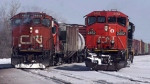 Canadian National Railway locomotives are seen in Montreal on February 23, 2015. (Ryan Remiorz / THE CANADIAN PRESS)