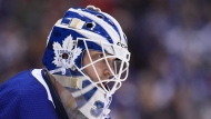 Toronto Maple Leafs goaltender Michael Hutchinson (30) looks down ice during second period NHL action against the Vancouver Canucks in Toronto, Saturday, Jan. 5, 2019. THE CANADIAN PRESS/Nathan Denette