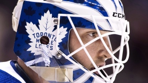 Toronto Maple Leafs goalie Michael Hutchinson looks up ice while playing against the Vancouver Canucks during second period NHL hockey action in Toronto on January 5, 2019. THE CANADIAN PRESS/Nathan Denette