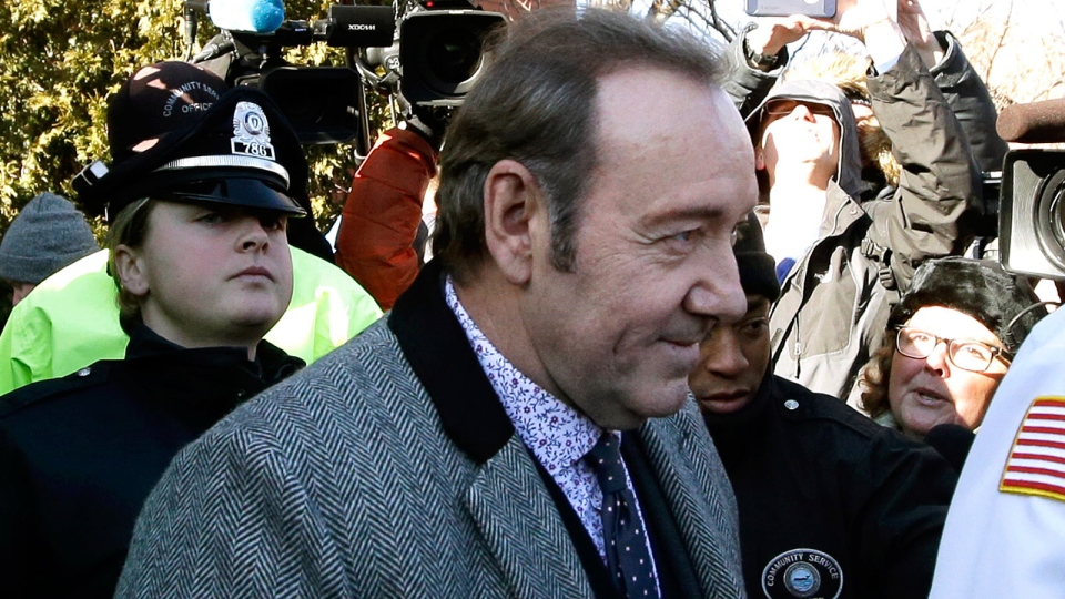 Actor Kevin Spacey departs from district court on Monday, Jan. 7, 2019, in Nantucket, Mass., after he was arraigned on a charge of indecent assault and battery. (AP Photo/Steven Senne)