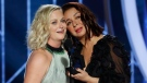 This image released by NBC shows presenters Amy Poehler, left, and Maya Rudolph during the 76th Annual Golden Globe Awards at the Beverly Hilton Hotel on Sunday, Jan. 6, 2019, in Beverly Hills, Calif. (Paul Drinkwater/NBC via AP)