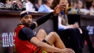 Atlanta Hawks forward Vince Carter (15) acknowledges the crowd's cheers during first half NBA basketball action against the Toronto Raptors, in Toronto on Tuesday, Jan. 8, 2019. THE CANADIAN PRESS/Frank Gunn