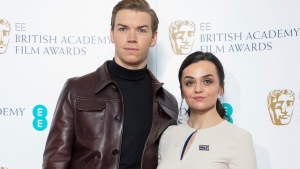 Actors Will Poulter, left, and Hayley Squires pose for photographers following the BAFTA Film Awards nominations announcement in London, Wednesday, Jan. 9, 2019. The film The Favourite leads the race with 12 nominations at the awards taking place in London on February 10. (Photo by Vianney Le Caer/Invision/AP)