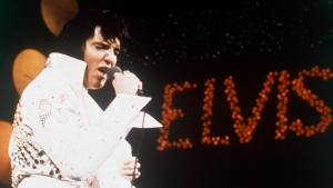 This 1972 file photo shows Elvis Presley, the King of Rock 'n' Roll, during a performance. (AP Photo, file)