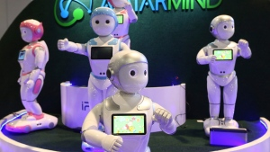 AvatarMind has developed service robots like iPal which is based on artificial intelligence, motion control, sensors and power management, and created iPal to deliver on that vision with multiple applications for friendly, fun and functional robot assistants, shown at CES International Tuesday, Jan. 8, 2019, in Las Vegas. Designed for child education and elder care, iPal is a fully functional humanoid robot with a friendly, playful demeanor, as iPal runs on the Android operating system with extensions for motion, sensor and natural language conversation. (AP Photo/Ross D. Franklin)