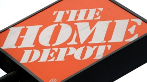 The logo for Home Depot outside of a location in the United States is seen. (AP / Mark Humphrey)