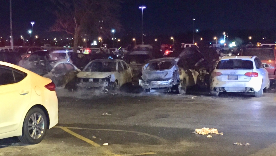 Multiple vehicles involved in a fire at Woodbine Racetrack early Friday morning are shown. (Michael Nguyen)