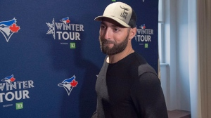 Kevin Pillar, the Toronto Blue Jays centre fielder, arrives to meet with reporters during a visit to Halifax on Friday, Jan. 11, 2019. THE CANADIAN PRESS/Andrew Vaughan