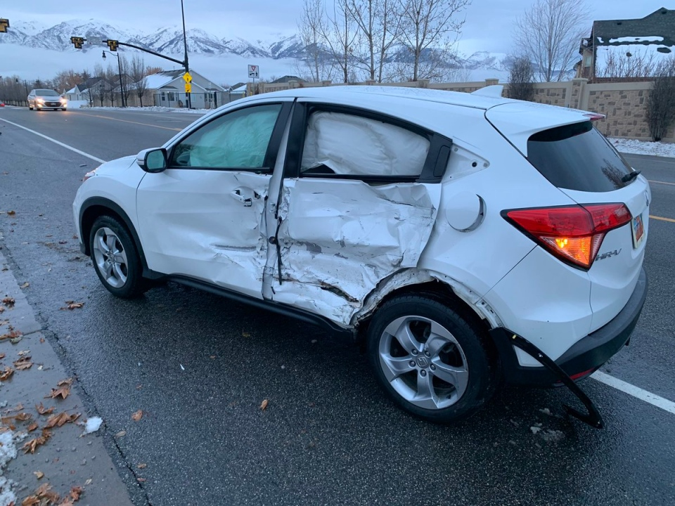 "Damage to a vehicle caused by the ""Bird Box challenge"" is shown. (Layton police)"