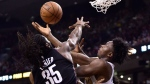 Toronto Raptors forward OG Anunoby (3) is fouled by Brooklyn Nets forward Kenneth Faried (35) during second half NBA basketball action in Toronto on Friday Jan. 11, 2019. THE CANADIAN PRESS/Frank Gunn