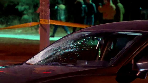 The scene of a collision involving a pedestrian in Scarborough on Jan. 11, 2019 is seen.