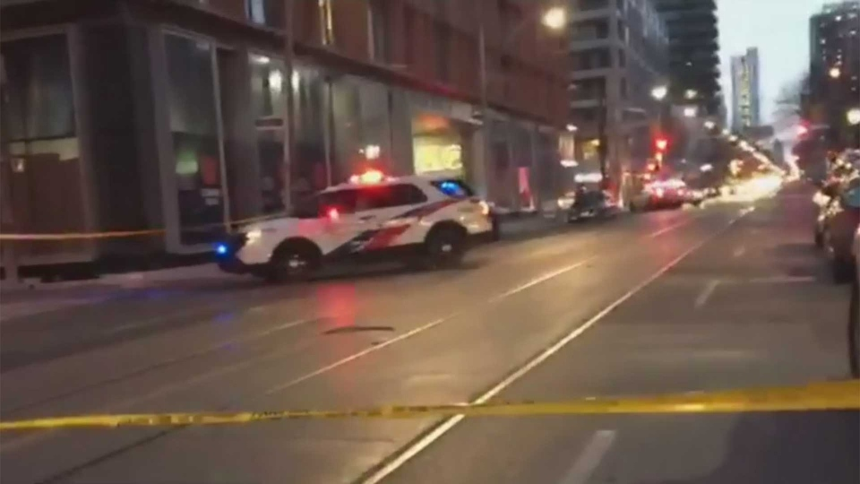 Police respond to a shooting in the area of Church and Colborne streets in downtown Toronto Sunday January 13, 2019.