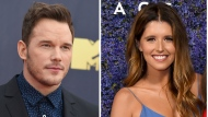 FILE- This combination of file photos shows Chris Pratt at the MTV Movie and TV Awards on June 16, 2018, in Santa Monica, Calif., left, and Katherine Schwarzenegger at Caruso's Palisades Village opening gala on Sept. 20, 2018, in Los Angeles, right. (Photo by Jordan Strauss/Invision/AP, File)