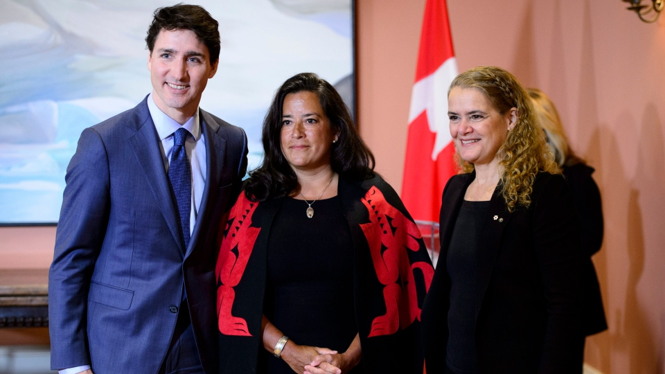 Prime Minister Justin Trudeau, Veterans Affairs Minister Jody Wilson-Raybould and Gov.-Gen. Julie Payette attend a swearing in ceremony at Rideau Hall in Ottawa on Monday, Jan. 14, 2019. THE CANADIAN PRESS/Sean Kilpatrick