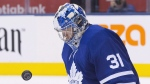 Toronto Maple Leafs goaltender Frederik Andersen keeps his eyes on the puck as he makes a stop during third period NHL hockey action against the Boston Bruins in Toronto on November 26, 2018. Frederik Andersen will get the start when Toronto hosts the Colorado Avalanche on Monday night at Scotiabank Arena. The 29-year-old netminder hasn't played since Dec. 22 because of a groin injury. Andersen served as the backup for two games immediately before and after the NHL's Christmas break, but was then placed on injured reserve and hasn't dressed for the Leafs' last five outings. THE CANADIAN PRESS/Chris Young