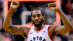 Toronto Raptors forward Kawhi Leonard (2) celebrates the team's win following second half NBA basketball action against the Atlanta Hawks, in Toronto on Tuesday, Jan. 8, 2019. THE CANADIAN PRESS/Frank Gunn