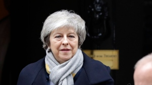 Britain's Prime Minister Theresa May leaves a cabinet meeting at Downing Street in London, Tuesday, Jan. 15, 2019. May is struggling to win support for her Brexit deal in Parliament. Lawmakers are due to vote on the agreement Tuesday, and all signs suggest they will reject it, adding uncertainty to Brexit less than three months before Britain is due to leave the EU on March 29. (AP / Kirsty Wigglesworth)