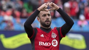 Toronto FC's Victor Vazquez celebrates scoring against the Chicago Fire during first half MLS soccer action in Toronto on Saturday, April 28, 2018. Toronto FC announced Monday that they are selling Vazquez. THE CANADIAN PRESS/Chris Young